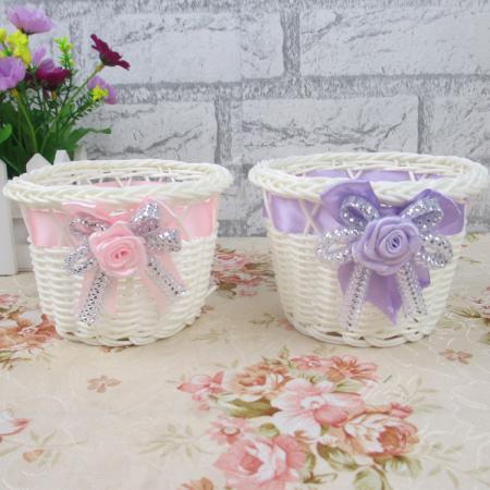 Wholesale: Hand-Woven Basket Rattan Vase with Plastic Flower